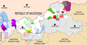 Albanian communities in Greece - Villages of Florina with speakers of Arvanitika in yellow