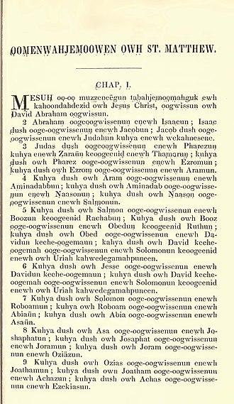 Ottawa dialect - Image: O'Meara Chipp Bible
