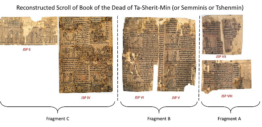 Partial Reconstruction of Book of the Dead for TaSheritMin Joseph Smith Papyri.JPG