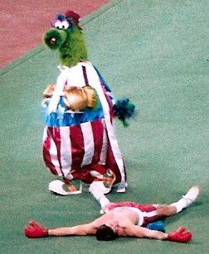 Phillie Phanatic - The Phillie Phanatic dressed as Rocky Balboa during a game at Veterans Stadium on Opening Day, 1986.