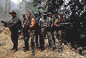 Predator (film) - The main cast of Predator. Left to right: Ventura, Black, Schwarzenegger, Duke, Weathers, Landham, and Chaves