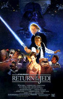 . This poster shows a montage of characters from the movie; in the background, Darth Vader stands tall and dark in front of a reconstructed Death Star; before him stands Luke Skywalker wielding a light saber, Han Solo aiming a blaster, and Princess Leia wearing a slave outfit. To the right are an Ewok and Lando Calrissian, while miscellaneous villains fill out the left.