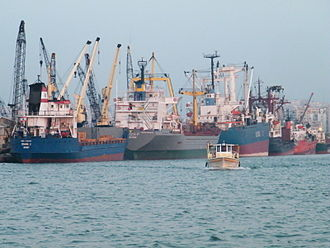 Port of Tripoli (Lebanon) - Ships docking on one of the port's quays