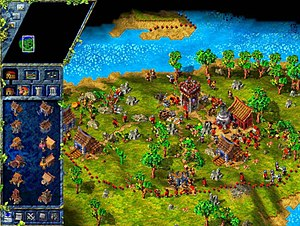 The Settlers III - Screenshot of The Settlers III, showing the player's territory (the border of which is represented by red dots) at the start of a mission, with limited space and only a few buildings. The window on the left shows some of the buildings which can be built. At the bottom of the screen, in the centre, settlers are constructing a building. To the right are a small group of soldiers.