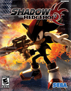 "alt=An anthropomorphic black hedgehog with spiky hair holds a handgun and other weapons,  striking an attacking pose with an unhappy expression on his face. A stylized explosion is visible in the background. The words ""Shadow the Hedgehog"" adorn the top of the screen, as does a red logo that resembles the hedgehog's head."