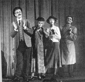 "Sigh No More (musical) - Cyril Ritchard, Madge Elliott, Joyce Grenfell and Graham Payn in ""The Burchells of Battersea Rise"""