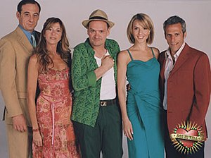 """You Are the One (Argentine TV series) - Supporting characters of the telenovela. From left to right: Alfredo Uribe (Alejandro Awada), Mercedes (Claudia Fontán), Enrique """"Quique"""" Ferreti (Carlos Belloso), Constanza Inzúa (Carla Peterson) and Miguel Quesada (Marcelo Mazzarello)"""