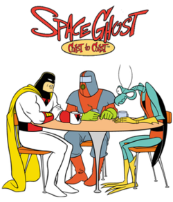 Space Ghost, Moltar, and Zorak sit around a coffee table