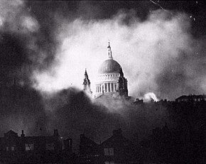 Black and white image of St Paul's Cathedral while London burns