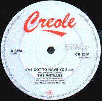 """Creole Records - 1983 12"""" single on UK label Creole Records."""