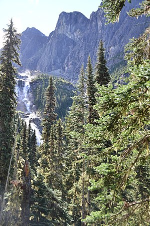 Wedge Mountain - Wedgemount Falls seen from the hike to Wedgemount Lake