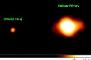 Linus (moon) - Kalliope and satellite Linus as seen by the W.M. Keck II telescope in 2010
