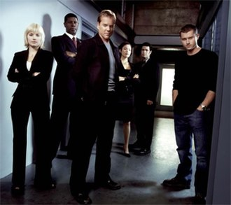 24 (season 3) - Season 3 main cast: (from left to right) Elisha Cuthbert, Dennis Haysbert, Kiefer Sutherland, Reiko Aylesworth, Carlos Bernard, and James Badge Dale
