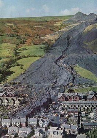 Aberfan disaster - Aberfan in the days immediately after the disaster, showing the extent of the spoil slip
