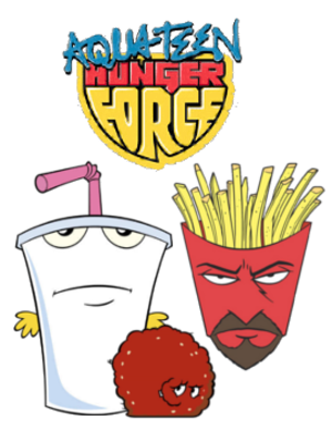 Aqua Teen Hunger Force - The series' main protagonists. From the left: Master Shake, Meatwad and Frylock.