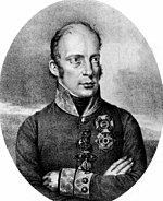 Print of a balding man with large eyes in a gray Austrian military uniform with one row of buttons and a high collar