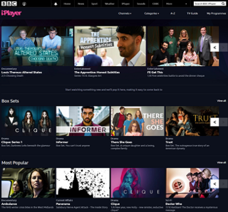 BBC iPlayer internet streaming, catchup, television and radio service