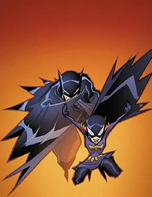 Batgirl drops in front of a charging Batman. The art for the comic book uses the same style as the animation for The Batman.
