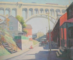 Eighth Street Bridge (dated 1933) by Allentown artist John E. Berninger. Now known as the Albertus Meyers Bridge, this painting depicts a long since demolished neighborhood on Allentown's Lawrence Street.