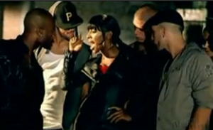 Bad Boys (Alexandra Burke song) - Burke enticing a group of men in the music video