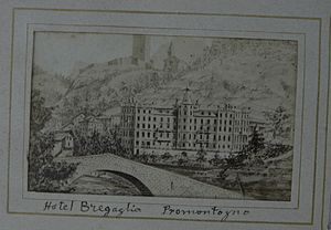 Bondo, Switzerland - 19th-century photograph of a drawing of the Hotel Bregaglia, Promontogno, taken from Bondo.