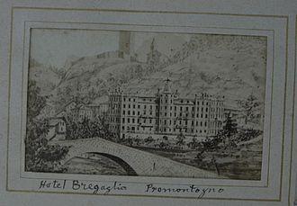 Bondo, Switzerland - 19th-century photograph of a drawing of the Hotel Bregaglia, Promontogno, taken from Bondo.