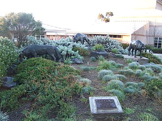 West Hills High School - The wolf statues
