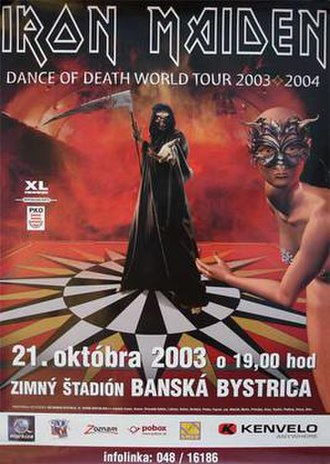 Dance of Death World Tour - Official tour advertisement for the band's performance in Banská Bystrica, Slovakia, 21 October 2003