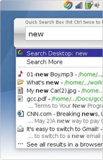 Google Desktop - Google Desktop running on Red Hat Linux.