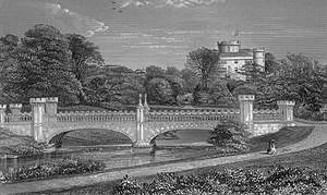 Clan Montgomery - The Tournament bridge and Eglinton castle in 1876.