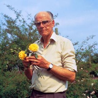Graham Stuart Thomas - Graham Thomas holding his namesake rose, bred by David Austin