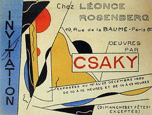 Léonce Rosenberg - Image: Joseph Csaky, Exhibition poster, Galerie Léonce Rosenberg, 1920