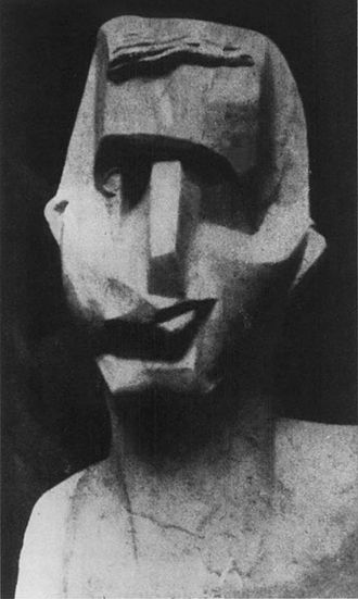 Joseph Csaky - Joseph Csaky, Head (Tête d'homme), 1913, Plaster lost. Photo published in Montjoie! March 1914, also Richard, René, 1988