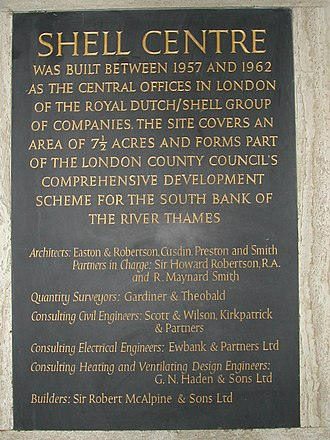 Shell Centre - A plaque in the lobby of Shell Centre