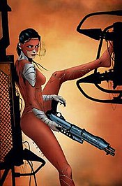 The current Manhunter, Kate Spencer, in the cover art for Manhunter vol. 3, #4; art by Jae Lee.