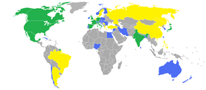 World cinema - Most productive cinemas around the world based on IMDb (as of 2009). Over 10,000 titles (green), over 5,000 (yellow), over 1,000 (blue)