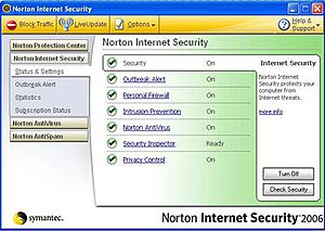 Norton Internet Security 2006's main interface.