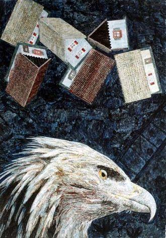 Elmar Peintner - Image: Nightpicture 1049 Falling plastic Houses and Head of Eagle (2002)