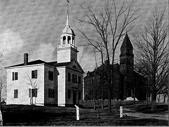 Pinkerton Academy - The two original school buildings. The right building is the one created using John Pinkerton's bequest.