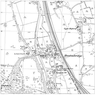 Hunton Bridge - Ordnance survey map from 1898