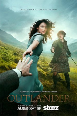 Outlander (TV series) - Promotional poster for season one, featuring Caitriona Balfe and Sam Heughan.