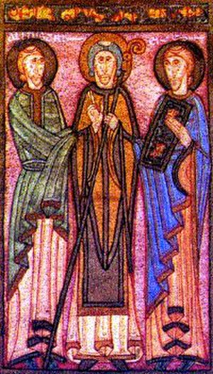 Pelagius of Oviedo - Pelagius, flanked by two ministers of his church, from a miniature of the Liber testamentorum.