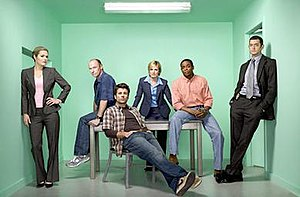 The cast of Psych, from left to right: Maggie ...