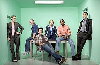 Psych - The cast of Psych, from left to right: Maggie Lawson, Corbin Bernsen, James Roday, Kirsten Nelson, Dulé Hill, and Timothy Omundson
