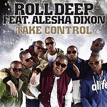Alt = A silver screen and the 8 Mens and the name of white word it was 'ROLL DEEP FEAT. ALESHA DIXON' and orange word it was 'TAKE CONTROL'