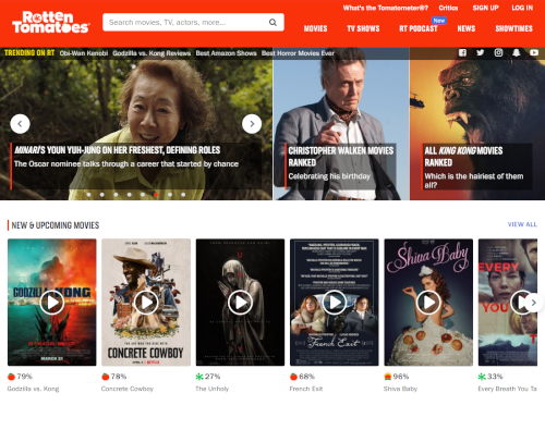 Rotten Tomatoes homepage
