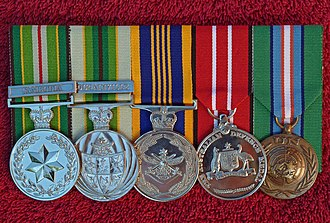 FCU UNTAC - Simon Woolley's Medals – UNTAC medals – far left and far right