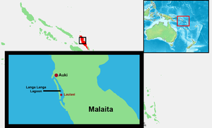Laulasi Island - Current map of Langa Langa lagoon, Malaita Solomon Islands