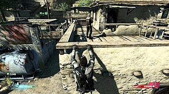 Tom Clancy's Splinter Cell: Blacklist - Screenshot of Fisher evading enemies by hanging from a building ledge