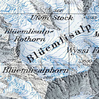 Cartography of Switzerland - Sample detail of the 1:50,000 National Map of Switzerland, showing the Blüemlisalp glacier.